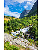 Waterfall, River, Storseterfossen