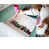 Kleinkind, Malen, Wasserfarben, Linien