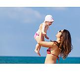 Mother, Summer, Daughter, Beach Holiday
