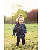 Girl, Laughing, Walk