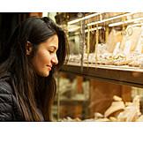 Young Woman, Shopping, Window Display, Jeweller