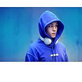 Teenager, Pensive, Headphones, Hoodie