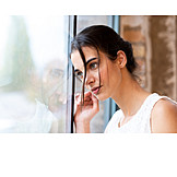 Young woman, Window, Aspiration