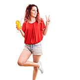 Young Woman, Cocktail, Summer, Victory Sign