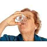 Senior, Drinking, Water, Thirsty