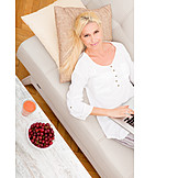 Woman, Healthy Diet, Home, Sofa, Laptop