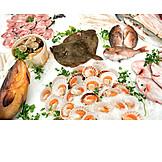 Iced, Mussels, Fish Market, Prepared Fish