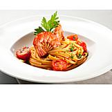 Spaghetti, Pasta, Shrimp, Served