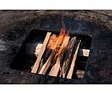 Grill, Fire, Logs
