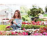Woman, Garden Center, Choosing, Gardening