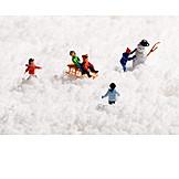 Snow, Playing, Children, Miniature