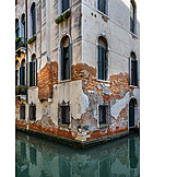 House, Canal, Venice, Water Damage