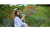 Woman, Summer, Wine, Flower Meadow