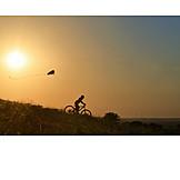 Boy, Bicycle, Kiteflying