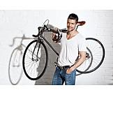 Man, Carrying, Bicycle, Racing Bicycle