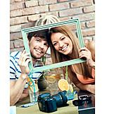 Couple, Smiling, Vacation, Souvenir Photo