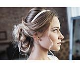 Hairstyle, Bride, Head band, Hair bun