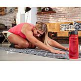 Woman, Home, Yoga, Workout, Asana