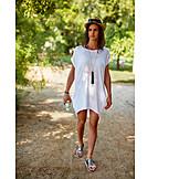 Woman, Summer, Dress, Straw Hat, Sandals