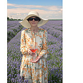 Woman, Summer, Wine, Lavender Field