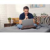 Man, Home, Laptop, Internet