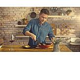 Man, Cooking, Meal, Preparation