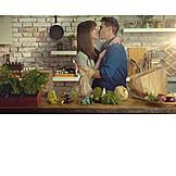 Couple, Love, Home, Loving, Tenderness, Kitchen
