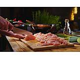 Preparation, Cutting, Cutting Board, Chicken, Raw Meat