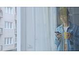 Woman, Home, Coffee, Window, Sms