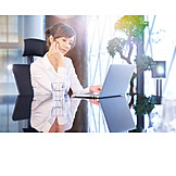 Business Woman, Office, Thinking, Workplace