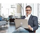 Businessman, Smiling, Laptop