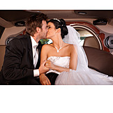 Happy, Kissing, Limousine, Bride, Groom, Bridal Couple, Just Married