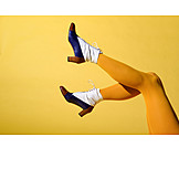Fashion, Retro, Yellow, Pantyhose, Lace Shoe, Ankle Boots, Female Leg