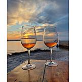 Sunset, Wine, Vacation